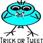 Trick or Tweet Cute Stick Figure Vampire Bird