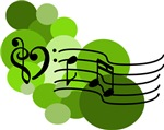 Green Musical Notes and Dots