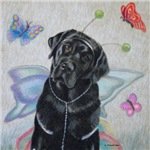Lola, Black Labrador Butterfly