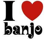 I Love Heart Banjo T-shirts and Gifts