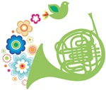 French Horn Flower Power T-shirts