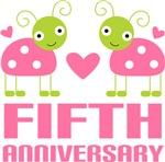 5th Anniversary Gift Pink Ladybug T-shirt