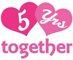 5th Anniversary Hearts Gift T-shirts