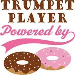 TRUMPET PLAYER POWERED BY DONUTS T-shirts