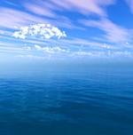 Blue Ocean Clouded Blue Sky