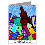 Chicago City-scape Cards and Magnets - artwork by