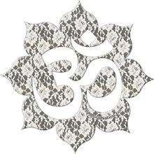 Aum (Om) on white lace  / YOGA