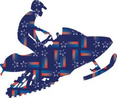 Shooting Star Patriotic Snowmobiler