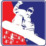 Snowboarder in Red White and Blue