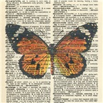 Vintage Monarch Dictionary Page Art