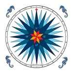 Shades of Blue Compass Rose