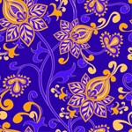 Purple Orange Blue Floral Wallpaper Pattern