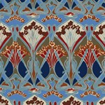 Red Blue Art Deco Floral