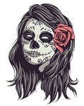 Sugar Skull Dead Girl Red Rose
