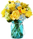 Yellow Roses in Mason Jar