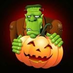 Frankenstein Monster Cartoon with Pumpkin