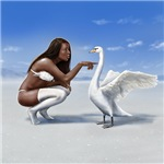 Girl and swan