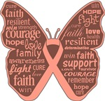 Uterine Cancer Butterfly Collage of Words Shirts