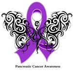 Pancreatic Cancer Tribal Butterfly Shirts