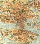 Vintage Stockholm Sweden Map