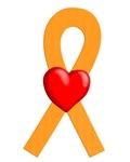 Orange Ribbon Heart