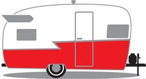 Red and White Vintage Shasta Travel Trailer