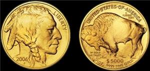 Both Sides of 2006 Gold Indian/Buffalo on Black