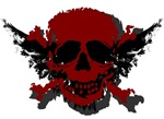 Red and Black Graphic Skull