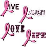 Breast Cancer Awareness Ribbons: Live Laugh Love L