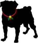 Christmas or Holiday Pug Jingle Bell Silhouette