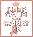 Uterine Cancer Keep Calm Carry On Shirts