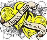 Testicular Cancer Hope Faith Dual Hearts Shirts