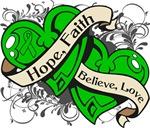 Kidney Cancer Hope Faith Dual Hearts Shirts