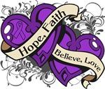 Epilepsy Hope Faith Dual Hearts Shirts