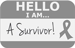 Brain Cancer Hello I'm A Survivor Shirts