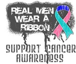 Thyroid Cancer Real Men Wear a Ribbon Shirts