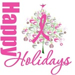Happy Holidays X-Mas Tree Pink Ribbon Cards & Gift