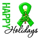 Green Ribbon Cancer Christmas Holiday Cards
