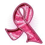 Breast Cancer Watermark Slogan Ribbon Shirts