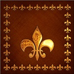 Antique leather with golden fleur-de-lys