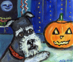 HALLOWEEN Whimsical DOG & CAT Art items