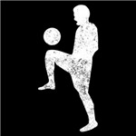 Distressed Soccer Player Silhouette