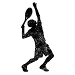 Distressed Tennis Player Silhouette