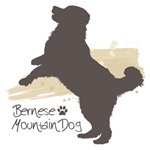 Jumping Bernese Mountain Dog Silhouette
