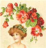 Romantic Edwardian Lady With Red Flowers