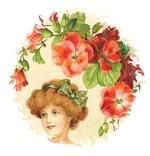 Romantic Edwardian Lady Under Red Flowers