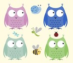 Owl Friends - Blue