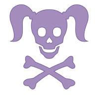 Curly Girlie Skull in violet