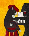 Tuxedo Cat and Piano