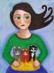 Girl Holding Basket of Kittens